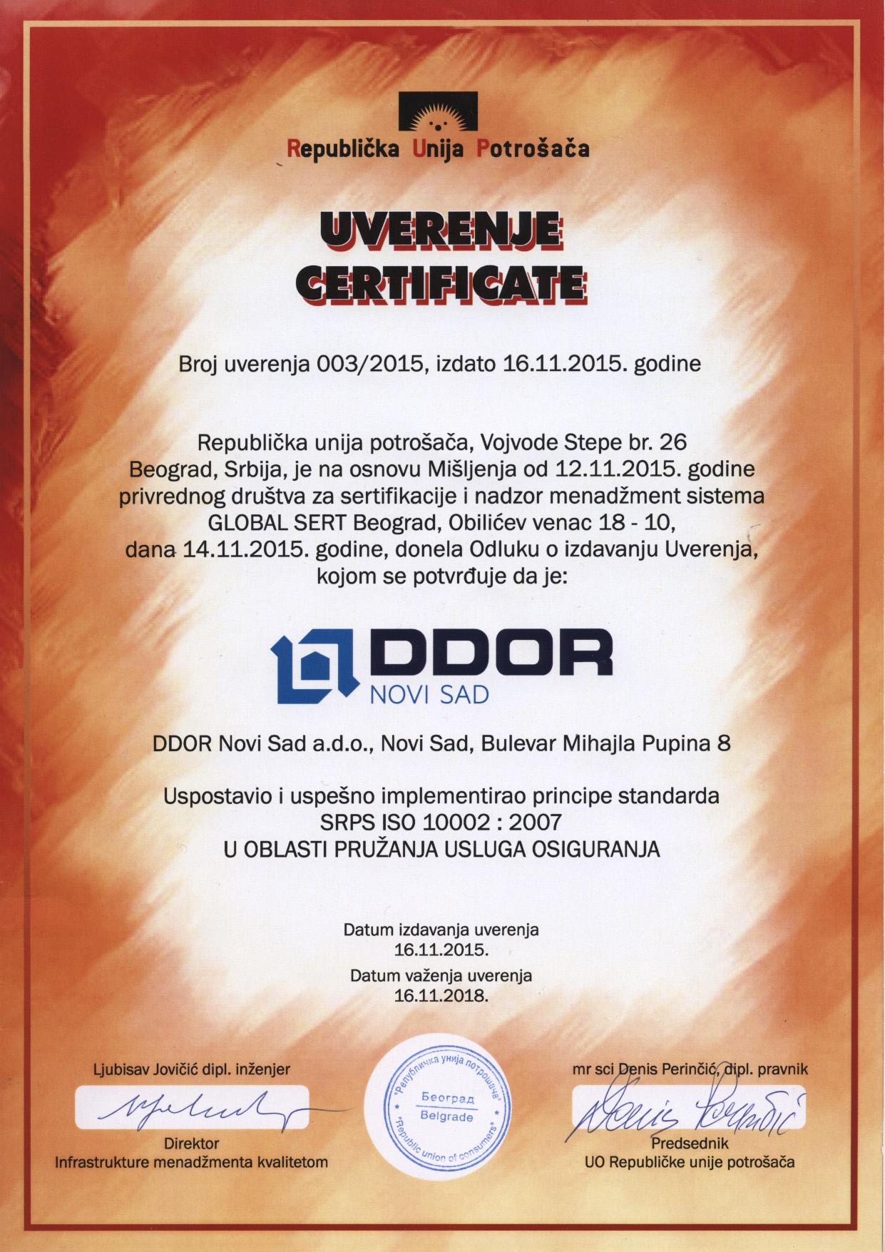 ISO standardi - DDOR